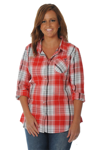 Plus Size Texas Tech Boyfriend Plaid Top