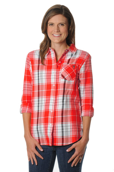 Texas Tech Boyfriend Plaid Top