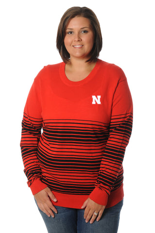 Plus Size Nebraska Cornhuskers Striped Sweater