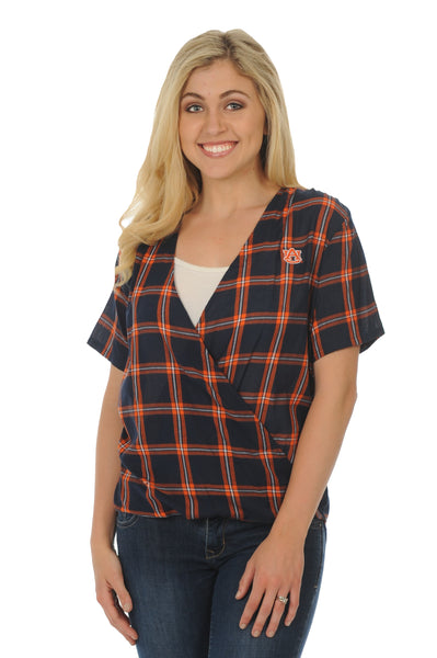 Auburn Tigers Plaid Wrap Top