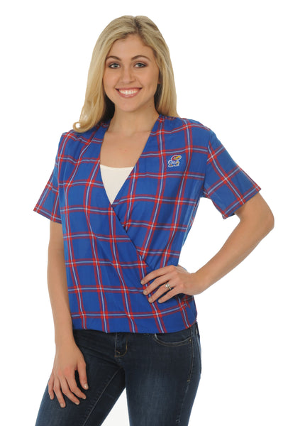 Kansas Jayhawks Plaid Wrap Top