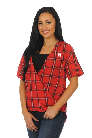 Nebraska Huskers Plaid Wrap Top