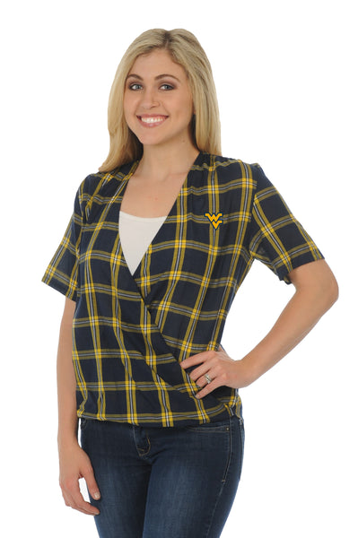 WVU Mountaineers Plaid Wrap Top