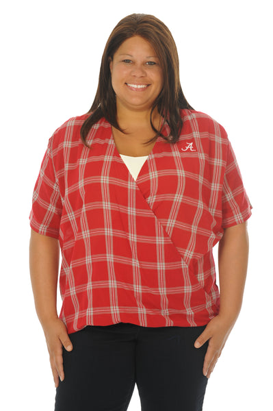 Plus Size Alabama Crimson Tide Plaid Wrap Top