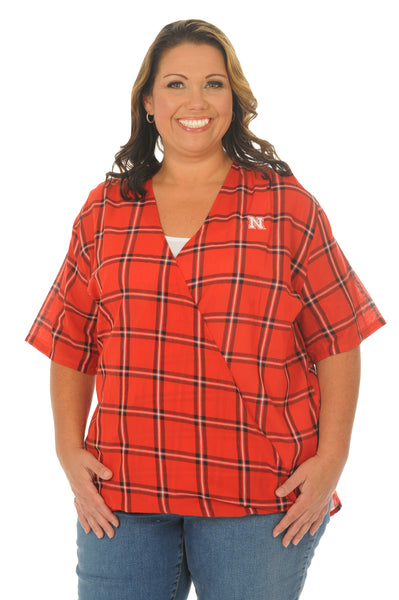 Plus Size Nebraska Huskers Plaid Wrap Top