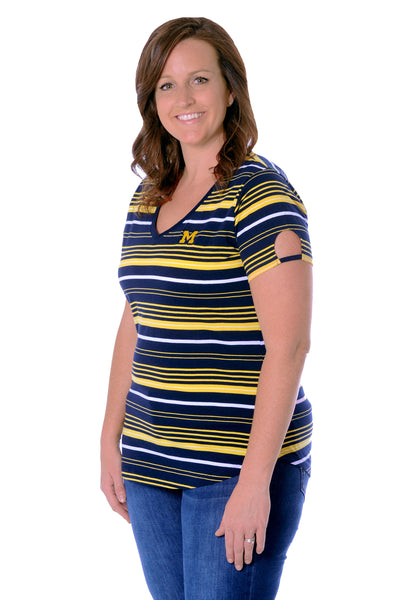 Plus Size Michigan Wolverines Cut-Out Spirit Tee