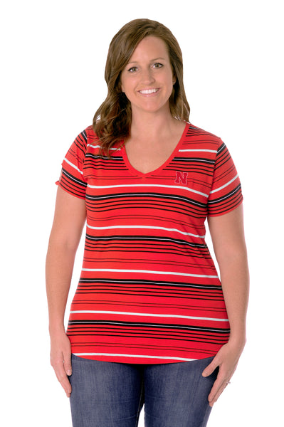 Plus Size Nebraska Cornhuskers Cut-Out Spirit Tee