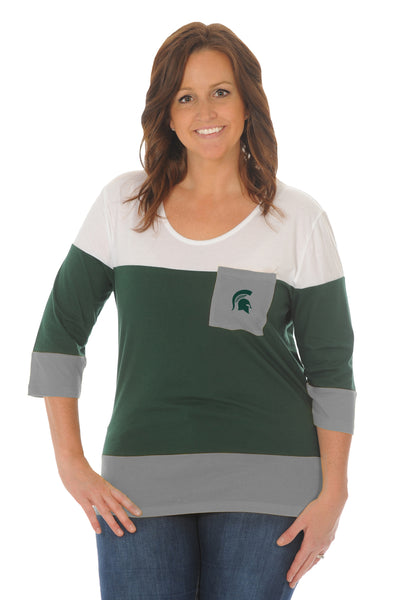 Plus Size Michigan State Spartans Colorblock Top