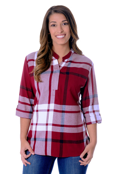 Garnet and Black Plaid Tunic Top
