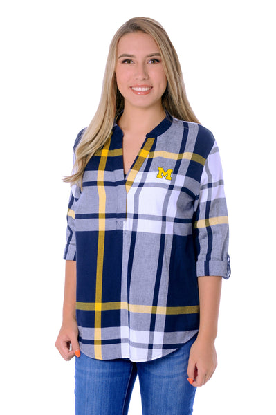 Michigan Wolverines Plaid Tunic Top
