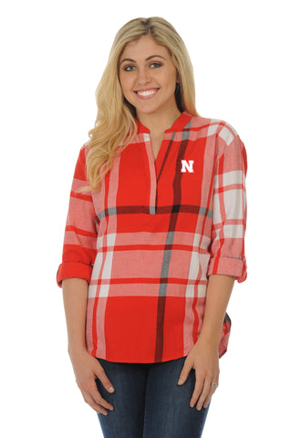 Nebraska Huskers Plaid Tunic Top