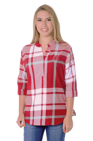 Washington State Cougars Plaid Tunic Top