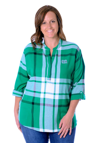 Plus Size Marshall Thundering Herd Plaid Tunic Top