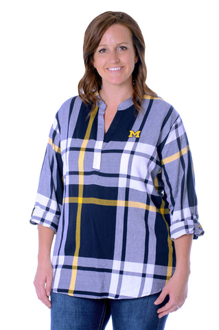 Plus Size Michigan Wolverines Plaid Tunic Top