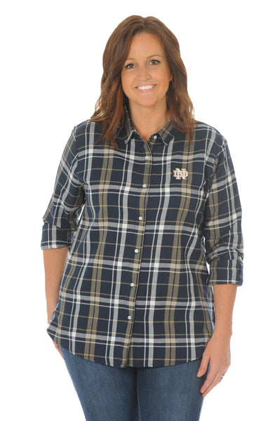 Notre Dame Fighting Irish Plus Size Boyfriend Plaid