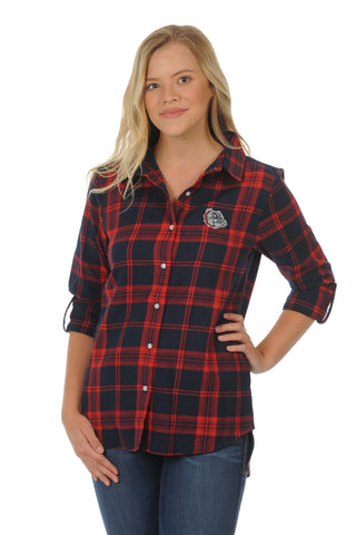 Gonzaga Bulldogs Boyfriend Plaid Top