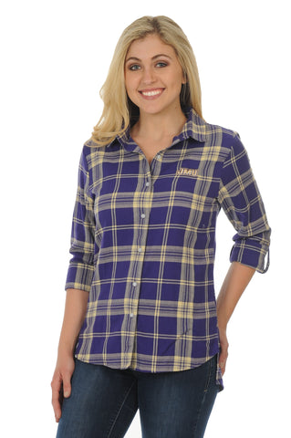 James Madison Dukes Boyfriend Plaid Top