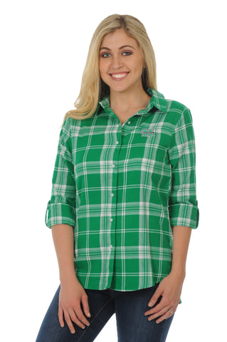 Marshall Thundering Herd Boyfriend Plaid Top