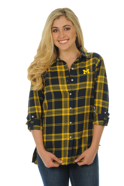 Michigan Wolverines Boyfriend Plaid Top