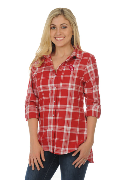 Oklahoma Sooners Boyfriend Plaid Top