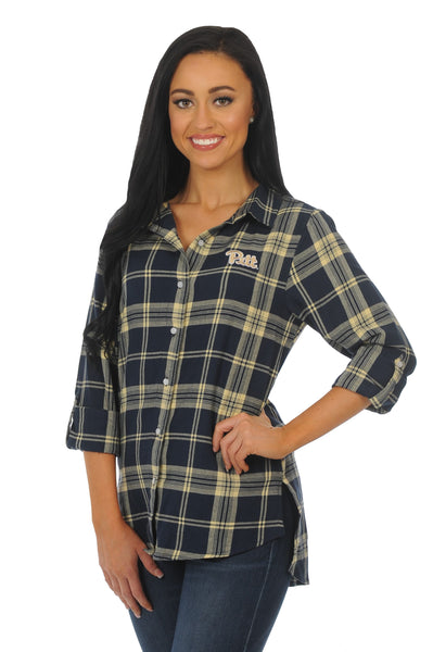 Pittsburgh Panthers Boyfriend Plaid Top