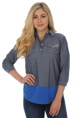 Kansas Jayhawks Chambray Tunic Top