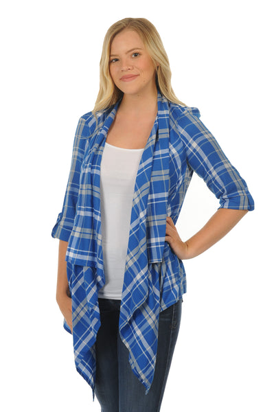 Royal Blue Plaid Cardigan