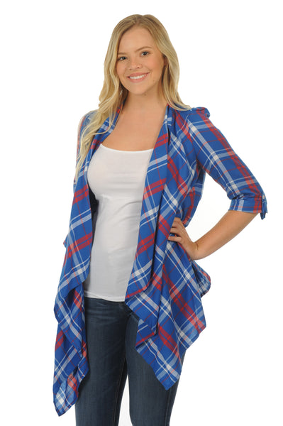 Royal Blue and Red Plaid Cardigan