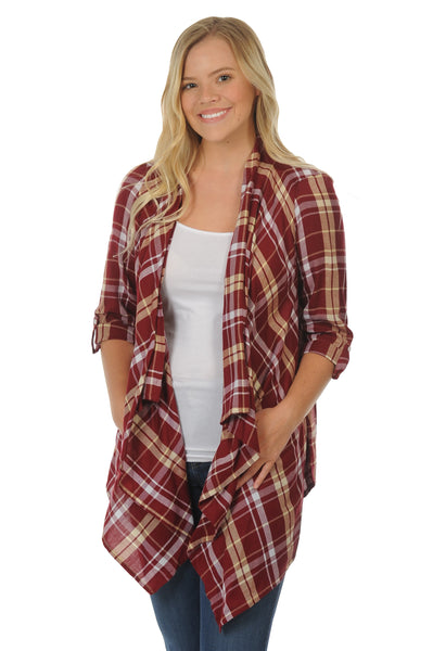 Garnet and Gold Plaid Cardigan