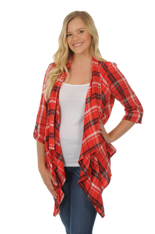 Red and Black Plaid Cardigan