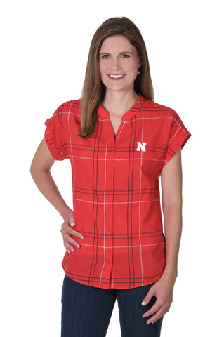 Nebraska Huskers Dolman Plaid Shirt
