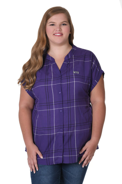 NYU Violets Plus Size Dolman Plaid