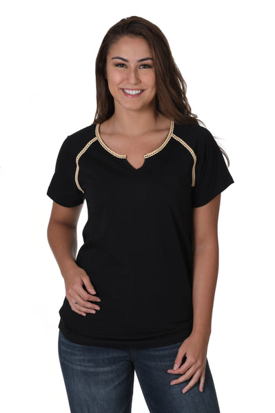 Black and Light Gold Lace Trim Tee