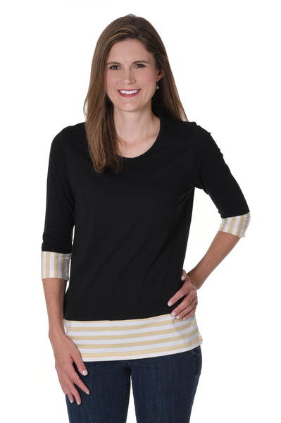 Black and Light Gold Striped Colorblock Top