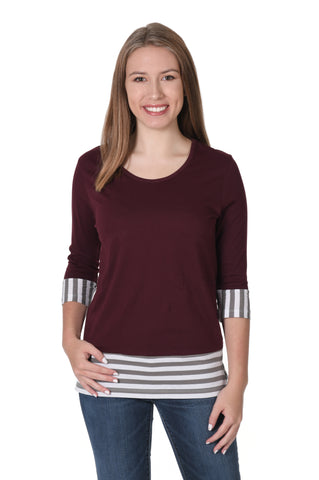 Maroon Striped Colorblock Top
