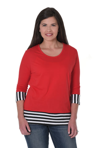 Red and Black Striped Colorblock Top