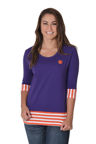 Clemson Tigers Striped Colorblock Top