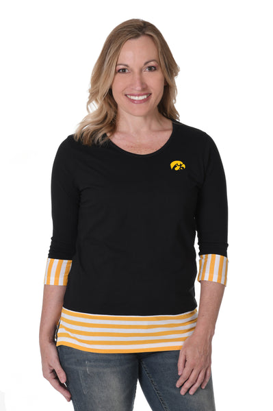 Iowa Hawkeyes Striped Colorblock Top