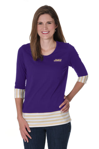 James Madison Dukes Striped Colorblock Top