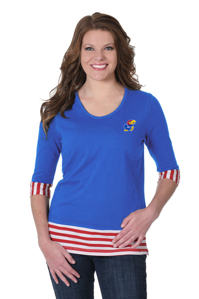 Kansas Jayhawks Striped Colorblock Top