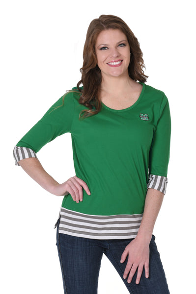 Marshall Thundering Herd Striped Colorblock Top