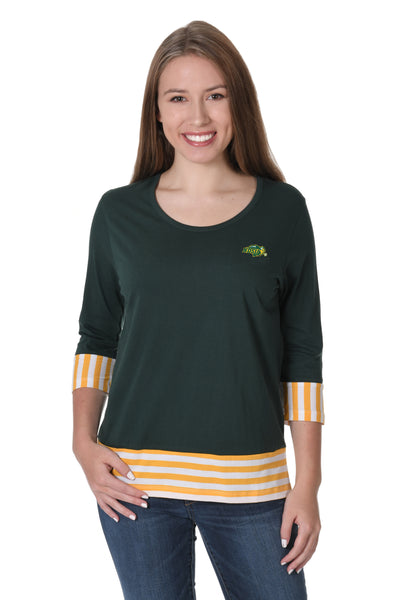 North Dakota State Bison Striped Colorblock Top