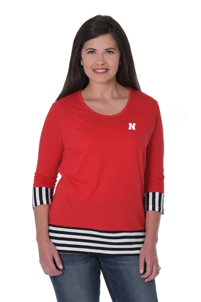 Nebraska Cornhuskers Striped Colorblock Top