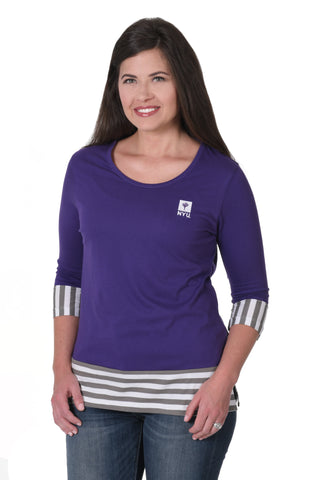 NYU Violets Striped Colorblock Top