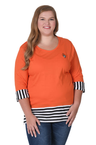 Oklahoma State Cowboys Plus Size Striped Colorblock Top