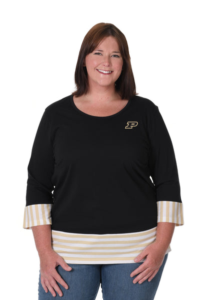 Purdue Boilermakers Plus Size Striped Colorblock Top