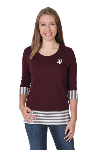 Texas A&M Aggies Striped Colorblock Top