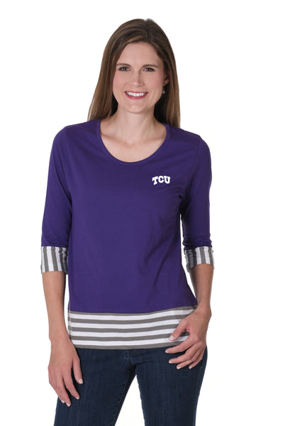 TCU Horned Frogs Striped Colorblock Top