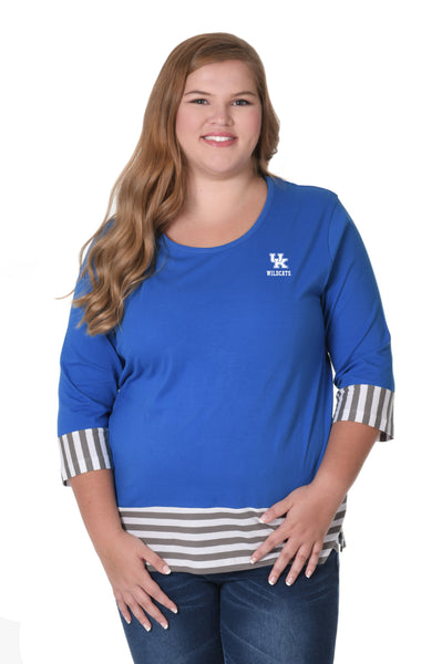 Kentucky Wildcats Plus Size Striped Colorblock Top