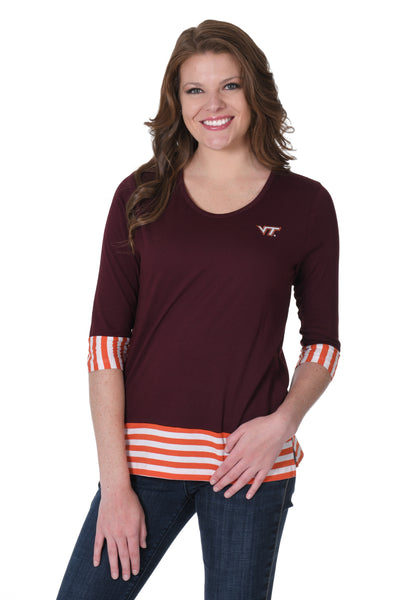 Virginia Tech Hokies Striped Colorblock Top